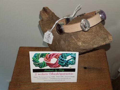 leren armband met cabouchons en schuiver